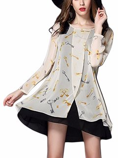 Plus Size Patchwork Key Printing Long-sleeve Dress