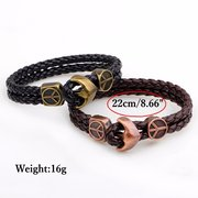Rock Men Bracelet Vintage Anchor Double Layer Leather Bracelet