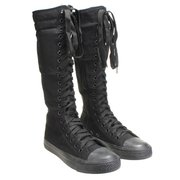 Canvas Lace Up Knee High Flat Boots