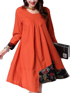 Gracila Vintage Ethnic Printed  Splicing  Pleated  A-Line Flare Long Sleeve Dress