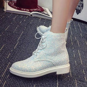 Paillette Shine Bling Lace Up Flat Ankle Boots For Women