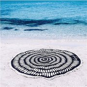 Round Black And White Lines Tassel Beach Towel Shawl Wall Hanging Mat Decor