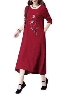 Women Ethnic Long Sleeve Embroidery Long Maxi Dress