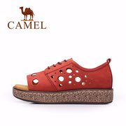 Camel Leather Hollow Out Soft Breathable Lace Up Flat Casual Sandals