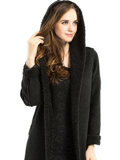 Женщины Повседневная Solid Color сгущает с капюшоном шерстяное пальто
