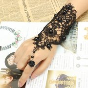 Black Beads Rose Flower Lace Ring Bracelet