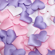 100 Padded Satin Heart Wedding Decorations Table Scatters Scrapbooking