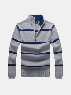 Autumn Winter Casual Stripe Half Zipper Up Stand Collar Slim Fit Knitted Sweater For Men