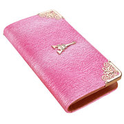 Women Metal Edge Tower Leather Long Wallet