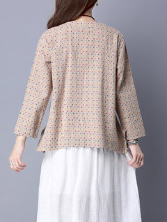Women Polka Dots Printed Long Sleeve Vintage Blouse