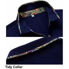 Mens Solid Color Floral Lined Decoration Turndown Collar Short Sleeved Cotton Polo Shirts
