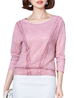 Batwing Lace Crochet Floral Long Sleeve Casual Women Tops