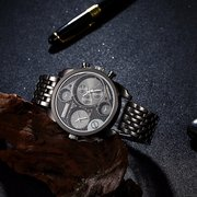 OULM Watch Casual Black Stainless Steel Charming Men Watch
