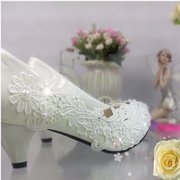 5cm White Lace Flower High Heel Leather Wedding Bridal Shoes For Women
