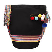 Woman Canvas Rainbow Strap Solid Shoulder Bag Tote Bag Shopping Bag