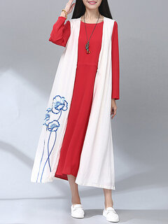 O-Newe Loose Flower Embroidery Sleeveless Long Cardigan For Women