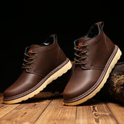 Men's British Pure Color Round Toe Lace Up Work And Casual Boots