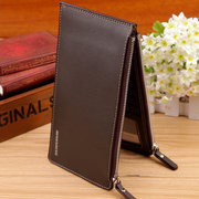 16 Card Holders Classical PU Leather Double Zippers Wallet For Men