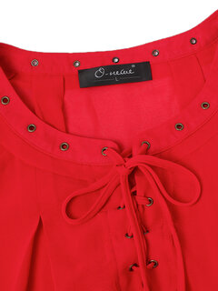O-NEWE Brief Women Neckline Lace-Up Pure Color Blouse