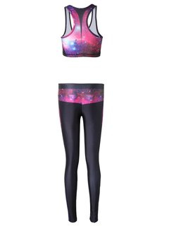 Women Two Pieces Set Starry Sky High Elasticity Tracksuit Yoga Gym Clothes