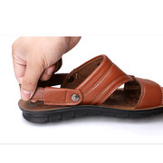 Men Leather Hollow Out Pure Color Slip On Flat Beach Sandals