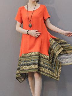 Folk Printing Patchwork Asymmetric Vintage Women  Dress