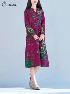 O-Newe Vintage Plus Size Flower Printed Button Split Midi Dress For Women