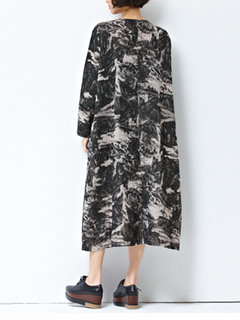 Casual Ink Printed O-Neck Long Sleeve Dress For Women
