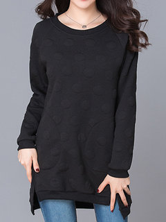 Women Casual Pure Color Long Sleeve Side Split Pocket Bottoming Shirts