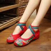 Loop Хук цветок Красочные вышивки Национальный Ветер Strappy плоские туфли