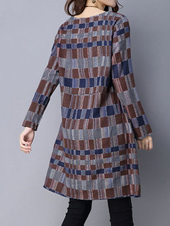 Casual Stripe Color Block Printed Long Sleeve Mini Dress For Women