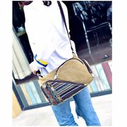 Women Canvas Patchwork Crossbody Bag Stripe Novel Shoulder Bag