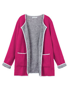 Casual Color Contrast Long Sleeve Pocket Thin Knit Cardigan