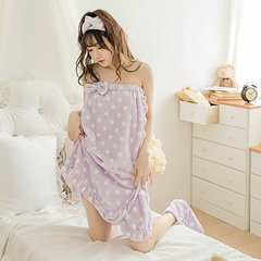 Sexy Off Shoulder Keep Warm Flannel Bathrobe Breathable Three-pieces Nightdress For Women