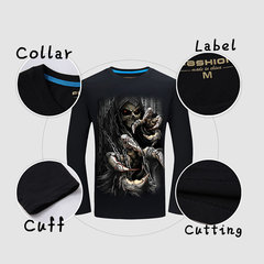 Mens Creative 3D Skeleton Chains Printing Cotton O-Neck Long Sleeve Plus Size T-Shirt