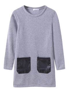 Women Thicken Leather Stitching Long Sleeve O-neck T-shirt