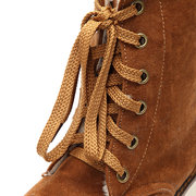 Big Size Buckle Ankle Lace Up Flat Casual Warm Fur Boots For Women