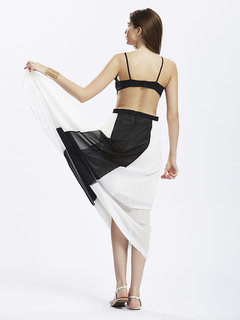 Party Strap Backless Pleated Patchwork Sexy Women  Chiffon Dress