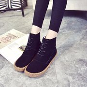 Suede Pure Color Ankle Lace Up Casual Short Boots For Women