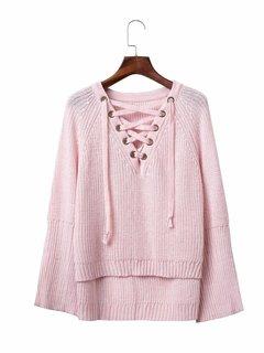 Women Casual Knitting Cross Strap Horn Sleeve V-neck Sweater