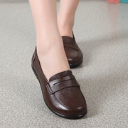Leather Pure Color Slip On Cozy Driving Mocassins Mother Flat Shoes