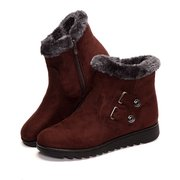 Buckle Button Ankle Suede Fur Lining Flat Snow Boots