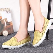 Leather Hollow Out Breathable Soft Comfy Slip On Flat Casual Shoes