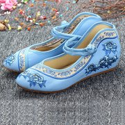 Embroidery Flower Lace Up Chineseknot National Wind Flat Shoes