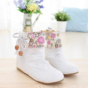 Big Size Flower Bowknot Lace Heel Increasing Folded Ankle Boots