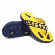 Men Pattern Clip Toe Flat EVA Indoor Bathroom Beach Slippers Flip Flops