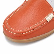 Pure Color Metal Decoration Slip On Wedge Heel Loafers