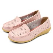 Leather Hollow Out Breathable Pure Color Casual Slip On Flat Shoes