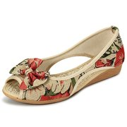 Flower Print Bowknot Vintage Hollow Out Open Toe Flat Shoes