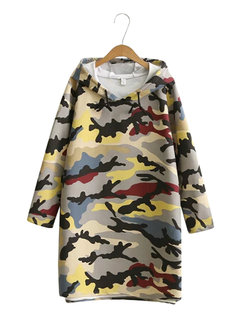 Women Printed Long Sleeve Hooded High Low Camouflage Dress